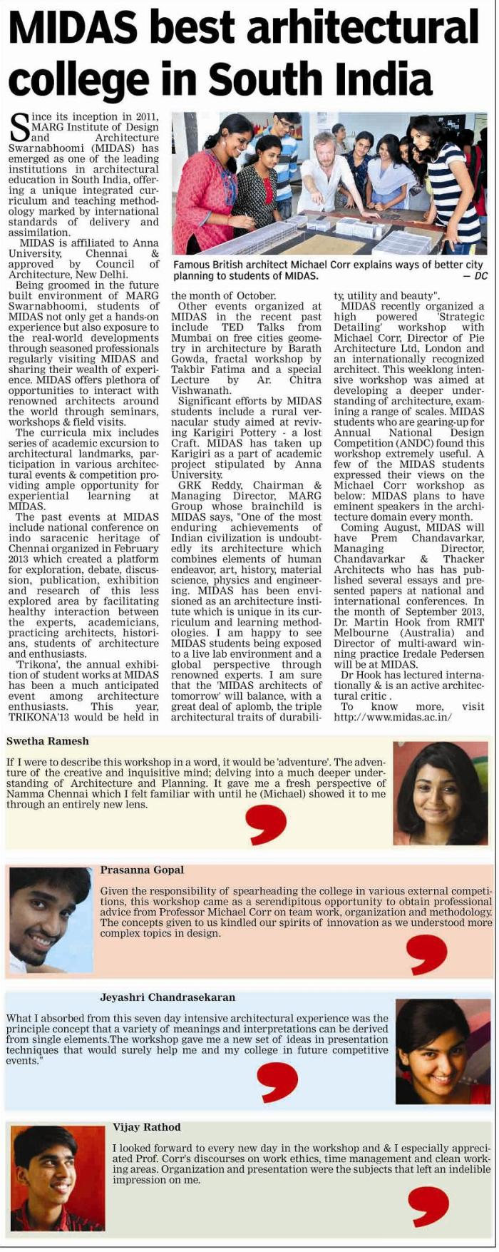 MIDAS best architecture college in South India, Deccan Chronicle